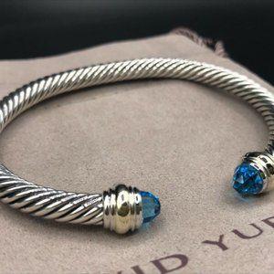 David Yurman Blue Topaz and 14k Gold 5mm Bracelet